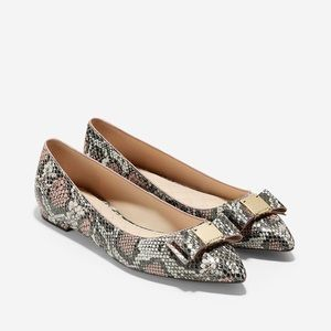 Cole Haan Tali Bow Flat In Misty Rose Snake Print